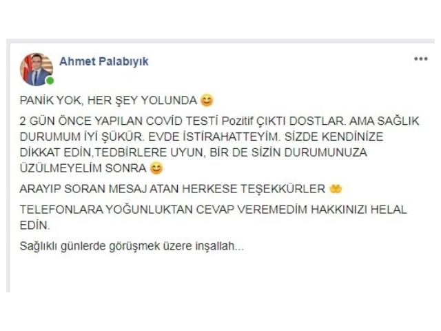 AK PARTİ İLÇE BAŞKANI COVİD'E YAKALANDI