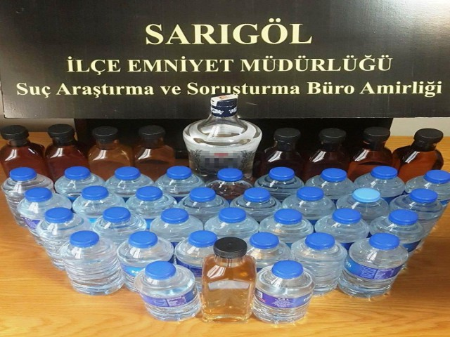 SARIGÖL'DE SAHTE İÇKİ OPERASYONU